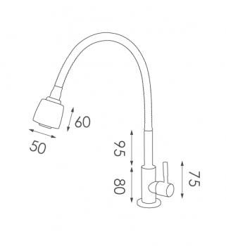 SC01不鏽鋼水龍頭尺寸圖