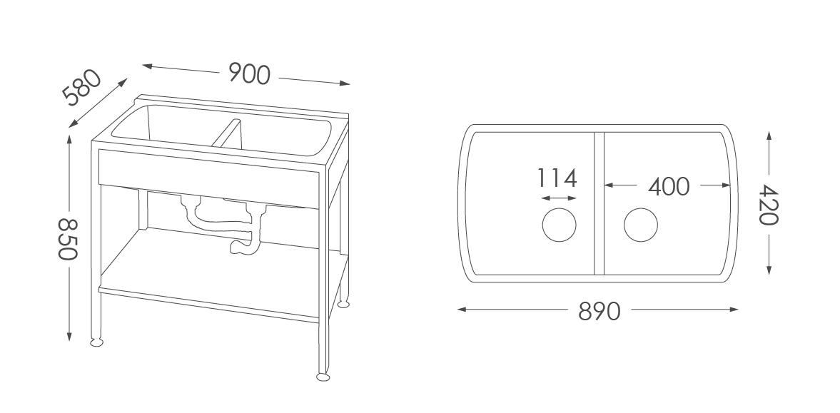 洗衣台ST-203人造石洗衣檯