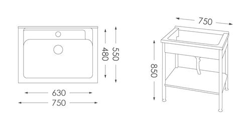 洗衣台ST-575B人造石洗衣檯